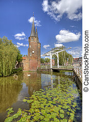 Oostpoort in Delft, Holland - Oostpoort gate and draw bridge...