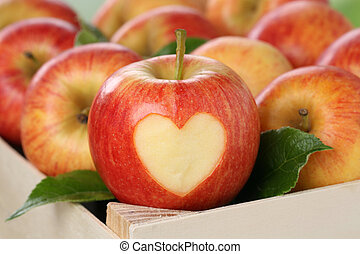Apple with heart love topic - Apple with heart in a box love...