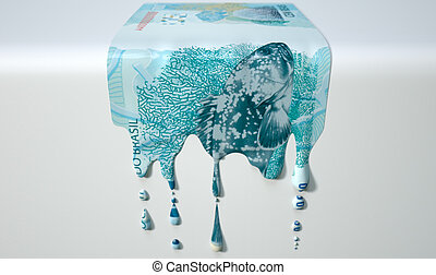 Brazilian Real Melting Dripping Banknote - A concept image...