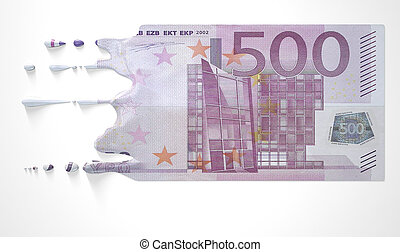 Euro Melting Dripping Banknote - A concept image showing a...