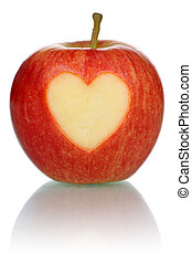 Apple with heart love topic isolated - Apple with heart love...