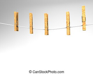 clothespins on a clothesline - 3D illustration of five...