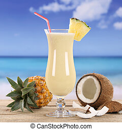 Pina Colada cocktail drink on the beach - Pina Colada...