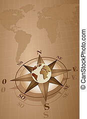 Compass Rose and map world - Map world with compass rose...