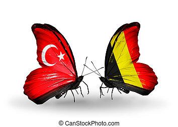 2, 蝶, 旗, 翼, シンボル, 関係, トルコ,...
