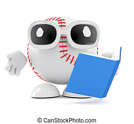 3d Baseball reads a book - 3d render of a baseball character...
