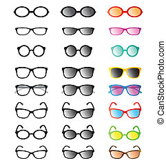 Vector group of an glasses and sunglasses on white...