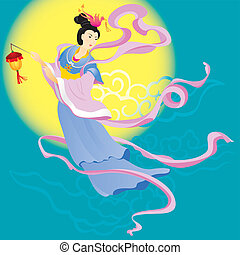 Chinese Fairy flying to the moon for celebrate the mid...