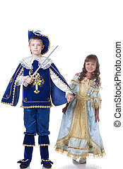 Image of brave musketeer and charming Cinderella, isolated...