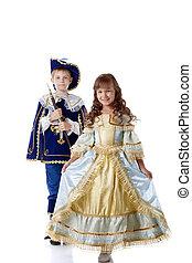 imagen, lindo, niños, Posar, carnaval, trajes