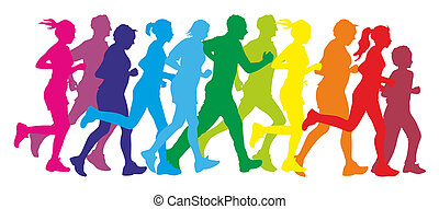 runner - colorful silhouettes of a group of runners