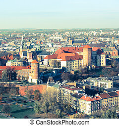 Aerial view of Royal Wawel castle with park in Krakow, Poland
