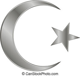 Metal star and crescent icon on white background. Vector...
