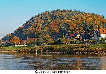 Autumn in the Saxon Switzerland, Germany - Village Wehlen in...