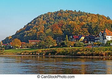 Autumn in the Saxon Switzerland, Germany - Village Wehlen in...