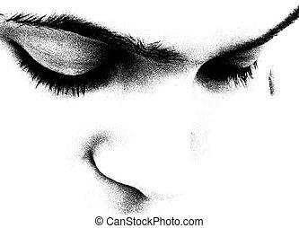 b&w facial features - get close