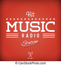 Hit Music Radio - Retro Poster for Hit Music Radio Station