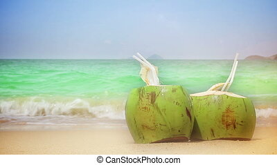 Closeup of two coconuts on a beach.