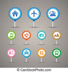 Map Pins with Transportation icons set