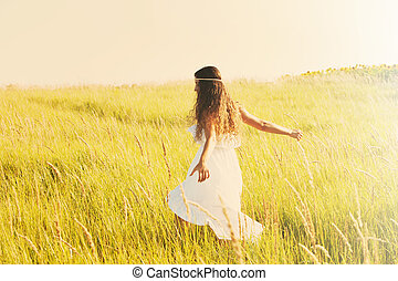 summer spirit - happy smiling woman in boho style clothes...