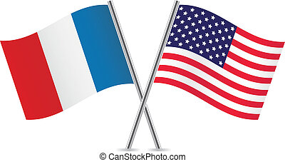 American and French flags Vector illustration
