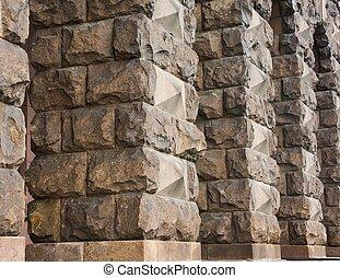 rustic stone columns