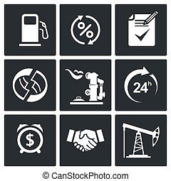 Sale of petroleum products icon set - Sale of petroleum...