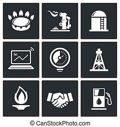 gas, handel, vektor, ikon, sätta