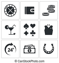 Casino and luck icon collection
