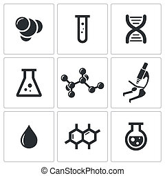 Chemistry icon collection - Chemistry icon set on a white...