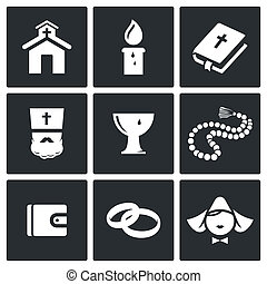 Religion icon collection - Religion icon set on a black...