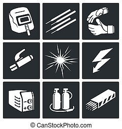 Welding icon set - Welding icon collection on a black...
