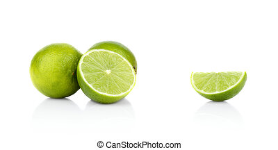 Three sliced limes isolated on a white background - Studio...
