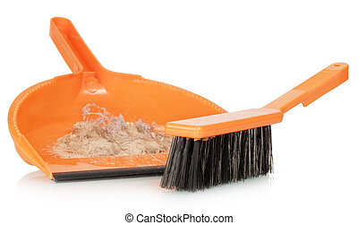 Whisk broom and dustpan with dirt, isolated on white...
