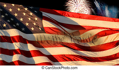 """Fireworks and Flag - Fireworks with the flag and \""""We The..."""
