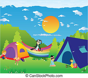 for camping, - composition showing the children staying at...