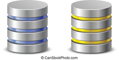Database icons. Network backup icons