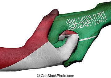 Handshake between Indonesia and Saudi Arabia - Diplomatic...