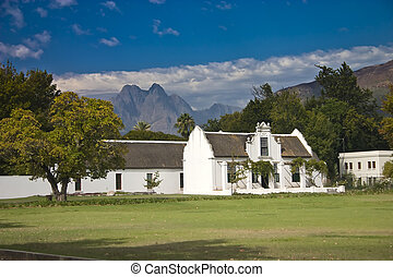 Stellenbosch - White colonial building in Stellenbosch,...
