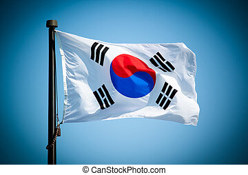 South Korean Flag Blowing in the wind