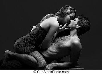 lowkey B and W portrait of a passionate couple - lowkey...
