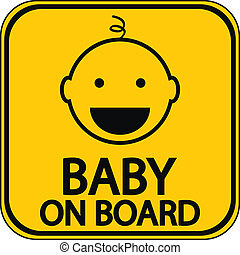 Baby on board sign on white background Vector illustration
