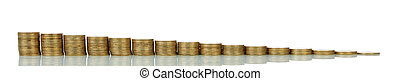 Decreasing or increasing coins stacks, isolated on white...
