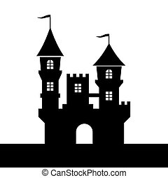 Castle Silhouette Icon on White Background. Vector...