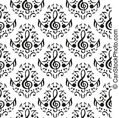 Musical notes seamless pattern - Vector musical notes...