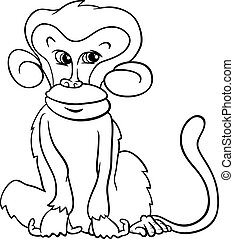 cute monkey cartoon coloring page - Black and White Cartoon...