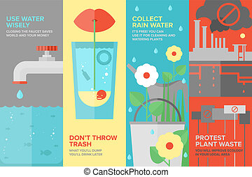 Water savings flat banner set - Flat banner set of reusing...