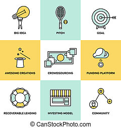 Crowdsourcing and funding money flat icons - Flat line icons...
