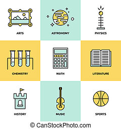 Education subjects flat icons - Flat line icons set of...