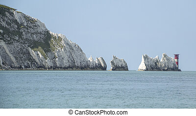 The lighthouse at the end of The Needles on the Isle of...